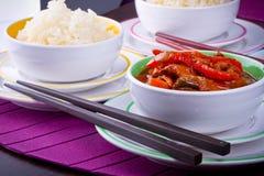 Arroz chino y pollo agridulce Imágenes de archivo libres de regalías