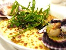 Arroz cocido al horno sopa de mariscos de la langosta Fotografía de archivo