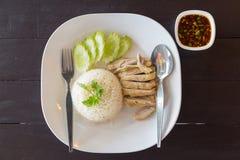Arroz cocido al vapor tailandés del pollo Fotos de archivo