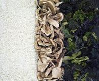 Arroz, cogumelos e alga Imagens de Stock Royalty Free