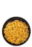 Arroz com cogumelos em uma frigideira Vista superior Isolado Fotos de Stock Royalty Free