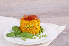Arroz com ervilhas verdes Fotos de Stock Royalty Free