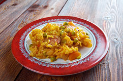 Arroz con chorizo. A traditional dish of Spain and Latin America.rice  with chorizo Stock Image