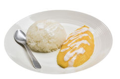Arroz con el mango en la placa Imagenes de archivo