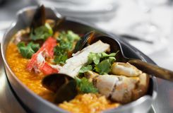 Arroz con mariscos. Rice paella with seafood. Arroz con mariscos Royalty Free Stock Photo