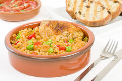 Arroz Con Pollo. Chicken and rice cooked with sofrito and beer Royalty Free Stock Photography