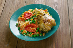 Arroz con pollo a la mexicana. Chicken and rice dish from Latin America Royalty Free Stock Photos