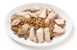 Arroz condimentado pollo libanés desde arriba Imagen de archivo