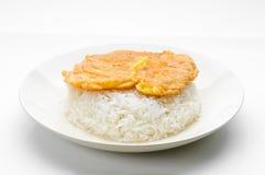 Arroz cozinhado com omeleta Foto de Stock