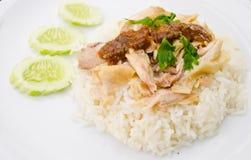 Arroz cozinhado com sopa de galinha foto de stock royalty free