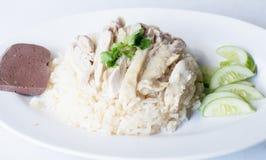 Arroz cozinhado com sopa de galinha Fotografia de Stock