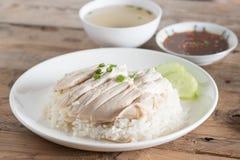Arroz cozinhado com sopa de galinha fotografia de stock royalty free