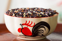 Arroz da baga do arroz na bacia da galinha Fotografia de Stock Royalty Free