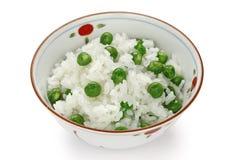 Arroz das ervilhas verdes, alimento japonês foto de stock