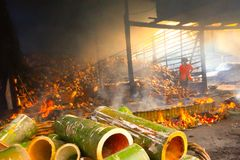 Arroz de bambu (Khao Larm) fotografia de stock royalty free