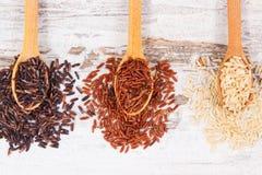 Arroz de Brown, rojo y negro en la cuchara de madera, concepto sano de la nutrición Imagenes de archivo