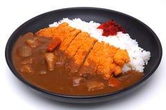 Arroz de caril com Fried Pork profundo ou o Katsu-kare, estilo japonês f Foto de Stock Royalty Free