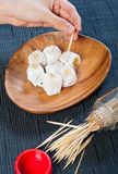 Arroz de Glutenous enchido com a pasta do creme do mongo imagem de stock