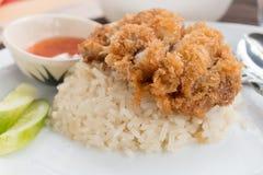 Arroz de Hainanese Fried Chicken Foto de Stock