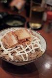 Arroz de la carne de vaca con kimchi Imagen de archivo