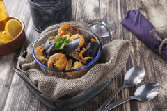 Arroz de marisco portugese肉菜饭海鲜盘 免版税库存图片