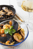 Arroz de marisco portugese paella θερινό πιάτο ρυζιού θαλασσινών αγροτικό Στοκ Εικόνες