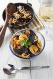 Arroz de marisco portugese paella θερινό πιάτο ρυζιού θαλασσινών αγροτικό Στοκ Εικόνα