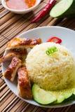 Arroz del pollo. Arroz asiático del pollo de Hainan del estilo Imágenes de archivo libres de regalías