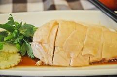 Arroz del pollo de Hainanese del singapurense con la piel Imagen de archivo libre de regalías