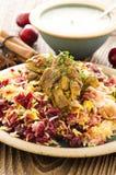 Arroz do açafrão com cerejas ácidas e galinha Foto de Stock Royalty Free