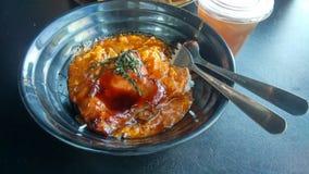 Arroz do caranguejo dos pimentões com galinha e chá de Teriyaki Fotografia de Stock Royalty Free
