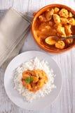 Arroz e carne cozinhados com caril Imagem de Stock Royalty Free