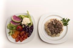 Arroz e salada Imagens de Stock