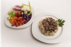 Arroz e saladas Imagens de Stock