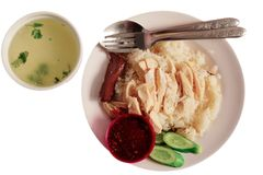 Arroz e sopa da galinha de Hainanese Imagem de Stock