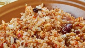 Arroz empedrado. Con Bacalao -  Spanish Rice with cod and beans of Valencia Royalty Free Stock Photography