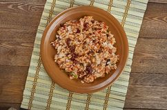 Arroz empedrado. Con Bacalao -  Spanish Rice with cod and beans of Valencia Royalty Free Stock Image