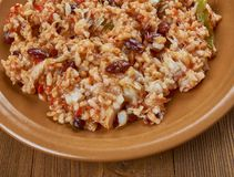 Arroz empedrado. Con Bacalao -  Spanish Rice with cod and beans of Valencia Stock Images