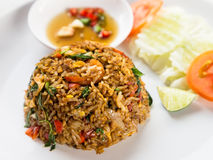 Arroz encendido con estilo tailandés de la salsa del queso de cerdo Foto de archivo