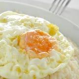 Arroz español un cubana del la, un plato típico del arroz en España Imagen de archivo