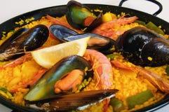 Arroz espanhol: paella imagem de stock