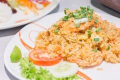 Arroz fritado com vegetais, galinha do chinês caseiro e fritado fotografia de stock