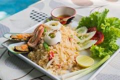 Arroz fritado de alimento de mar Fotografia de Stock