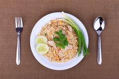 Arroz fritado do estilo tailandês com carne de porco em Banguecoque, Tailândia Foto de Stock Royalty Free