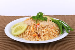 Arroz fritado do estilo tailandês com carne de porco em Banguecoque, Tailândia Foto de Stock