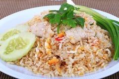 Arroz fritado do estilo tailandês com carne de porco em Banguecoque, Tailândia Fotos de Stock Royalty Free
