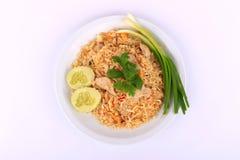 Arroz fritado do estilo tailandês com carne de porco em Banguecoque, Tailândia Imagem de Stock