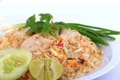 Arroz fritado do estilo tailandês com carne de porco em Banguecoque, Tailândia Imagens de Stock Royalty Free
