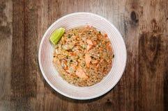 Arroz fritado dos salmões japoneses, Salmon Chahan Rice fotografia de stock royalty free