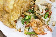 Arroz frito de la albahaca con el camarón, calamar Imagenes de archivo